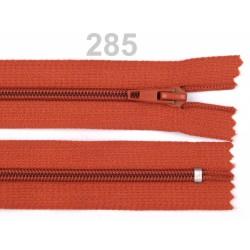 Hnědooranžový zip 50cm - spirálový 5 mm dělitelný