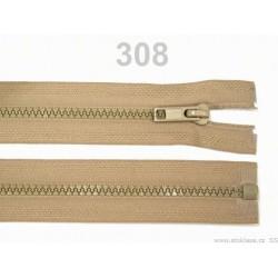 Béžový zip 45cm - kostěný 5 mm dělitelný