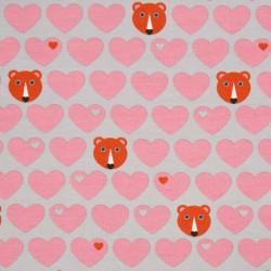 Srdíčková teplákovina růžová s medvědy