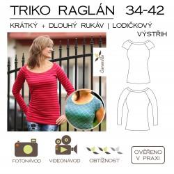 Dámské triko s raglánovým rukávem – lodičkový výstřih – 34 – 42 (dlouhý + krátký rukáv)