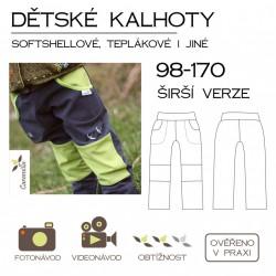 Dětské kalhoty (softshellové i jiné) 98-170 SET užší + širší verze