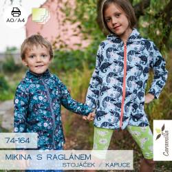 Mikina s raglánovým rukávem stojáček / kapuce 74 -164