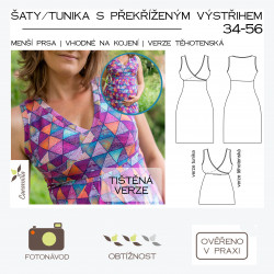 Šaty / tunika s překříženým výstřihem (verze těhotenská/netěhotenská/kojící) – 34 – 56 bez rukávů