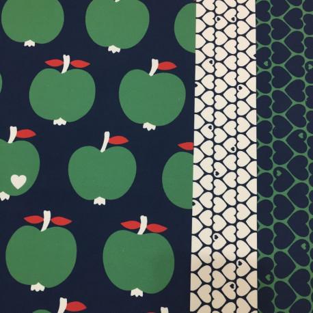 Nepromokavá bavlna Jablka zelená