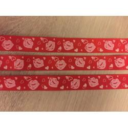 Rypsová stuha pusinky na červené 11mm